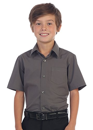 Dark Gray Dress Shirt - Gioberti Boy's Short Sleeve Solid Dress Shirt, Dark Gray, 7