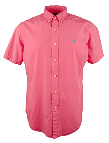 Polo Ralph Lauren Men's Short-Sleeve Poplin Silk Shirt Button up Button down, Size M, Bright Pink (889697561441)