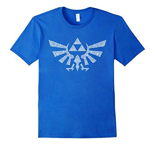 Blue Legend T-shirt - Mens Nintendo Zelda Hyrule Crest Elemental Triforce Logo T-Shirt Medium Royal Blue
