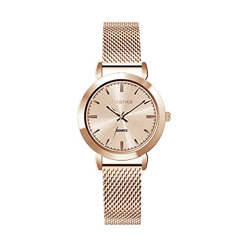Ananke Women Stainless Steel Mesh Rose Gold Quartz Wrist Watch Fashion Petite Waterproof with Minimalist Analogue Dial Scratch Proof Face
