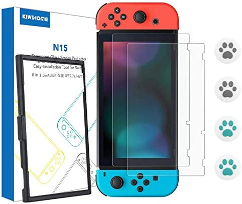 Switch Screen Protector with Application Tray, KIWIHOME 2 Pack Transparent HD Clear Tempered Glass Screen Protector with Cat Paw Thumb Grip Caps for Nintendo Switch Accessories