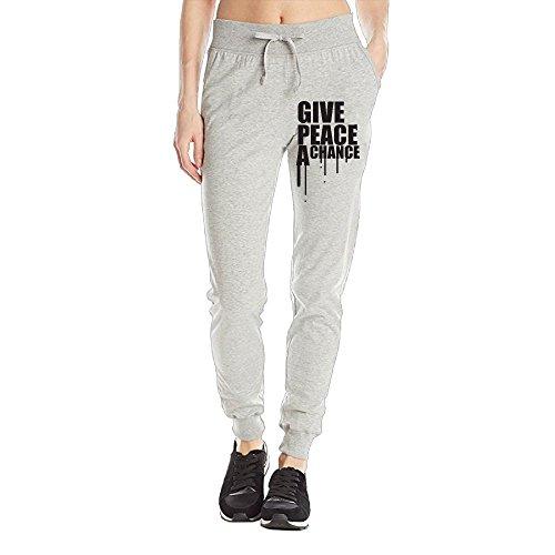 Zhang Anti War Give Peace A Chance Women's Printed Drawstring Waist Jogger Sweatpants Soft Cotton Pants With Pockets