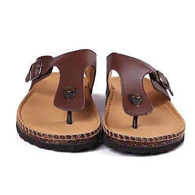 Zapatos de hombre casual sandalias de piel sintética de color marrón/blanco/negro Blanco