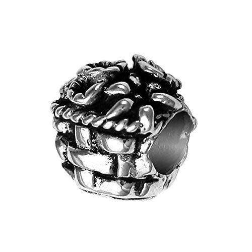 Adorable Flower Basket Charm Bead - Solid 925 Sterling Silver - Fits Bracelets like Pandora - Trollbeads Rose