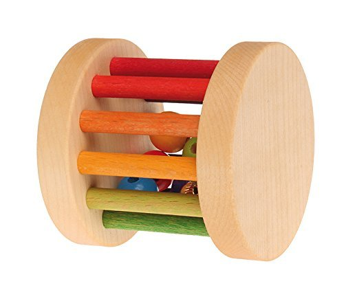 Grimm's Shake, Rattle & Roll Baby Toy - Mini Wooden Rainbow Rolling Wheel ()