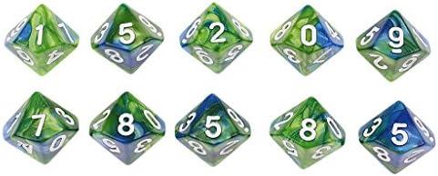 FLAMEER 10 Unids 10 Caras D10 Dados Poliédricos De Doble Color para DND RPG MTG - Verde Azul: Amazon.es: Juguetes y juegos