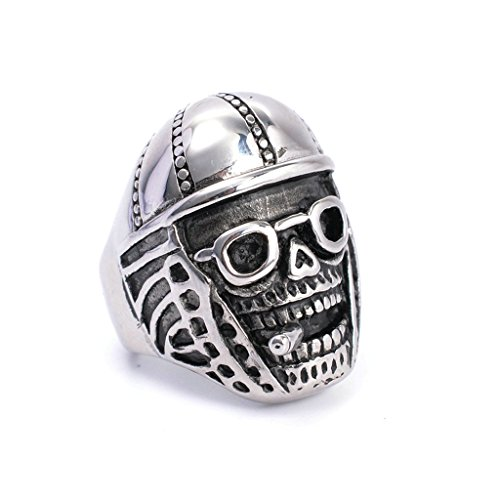 mens-316l-stainless-steel-pipe-skull-ring-silver-gothic-vintage-biker-size-9