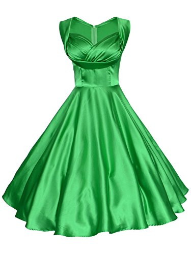 Maggie Tang Women's 1950's 60s Solid Color Vintage Garden Dress M Green