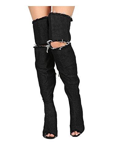 d14ca016b98 Alrisco Women Frayed Denim Thigh High Peep Toe Stiletto Boot HG12 - Black  Denim (Size