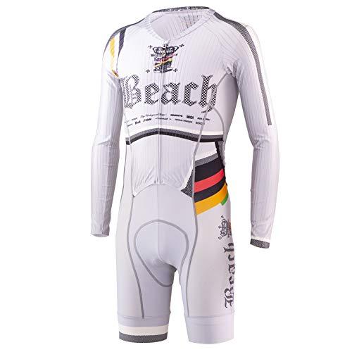 【Pandani パンダーニ】お洒落 メンズ サイクルウエア サイクリングウエア 吸湿速乾 UVカット(UPF50+) Beach Ver.7 RS 長袖 ワンピース グレー サイクルジャージ XS  B07R3CNN2R
