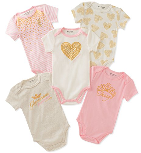 (Juicy Couture Baby Girls 5 Packs Bodysuit, Pink/Vanilla/Gold, 0-3 Months)
