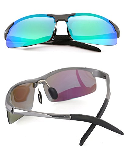 4c0efdf850 Ronsou Men Sport Al-Mg Polarized Sunglasses Unbreakable For Driving Cycling  Fishing Golf gray frame
