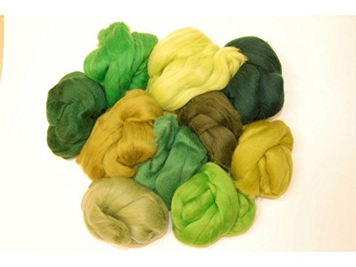 Woodland green hues Merino wool roving/tops . A mix of 10 colours. Great for wet felting / needle felting, and hand spinning projects. 60gm pack The Wool Barn WB-4