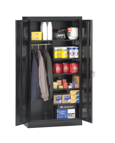 "Tennsco 7214 24 Gauge Steel Standard Welded Combination Storage Cabinet, 5 Shelves, 150 lbs Capacity per Shelf (50 lbs per half shelf), 36"" Width x 72"" Height x 18"" Depth, Black from Tennsco"