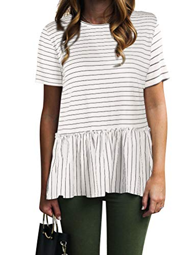 - Nlife Women Casual Stripe Blouse Short Sleeve Shirt Tops Tunic Shirt Peplum Shirt