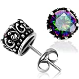Jude Jewelers Retro Vintage Celtic Knot Stainless Steel Fire Crystal Stud Earrings (Fire)
