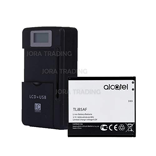 OEM Battery TLiB5AF for Alcatel One Touch 997   PopC5   X Pop   OT-5035 w/Universal LCD Battery Charger + USB-Port (Adjustable Dock) in Non-Retail Packaging (Alcatel One Touch X Pop)