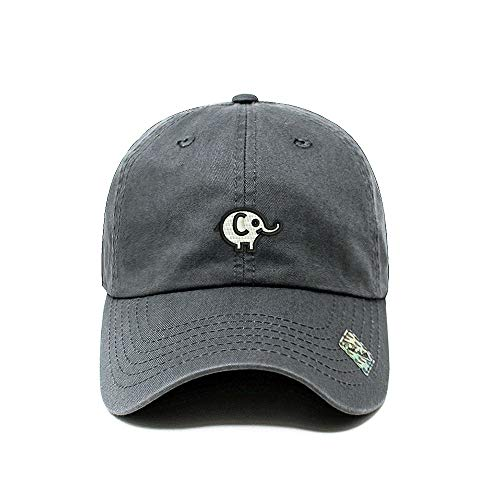 (ChoKoLids Elephant Dad Hat Cotton Baseball Cap Polo Style Low Profile 12 Colors (Charcoal))