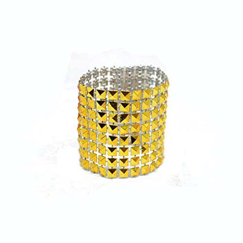Pyramid Buckle - 50pcs Golden Napkin Rings Cone Pyramid Serviette Buckles with Hook & Loop Table Decor for Wedding Party