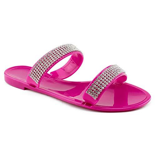 RF ROOM OF FASHION Jeweled PVC Jelly Flat Slides Sandal Magenta Size.7