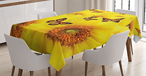 Ambesonne Sunflower Decor Tablecloth by, Sunflower Flowers Atop One Another Butterfly Warm Colors Round Close up Details Fun Design, Dining Room Kitchen Rectangular Table Cover, 60 X 84 ()