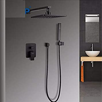 Robinet de douche carré salle de bain sy tem laiton set ...
