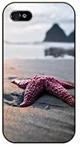 Case For Iphone 6 Plus 5.5 Inch Cover Sea star in sand - black plastic case / Nature, Animals, Places Series, beach