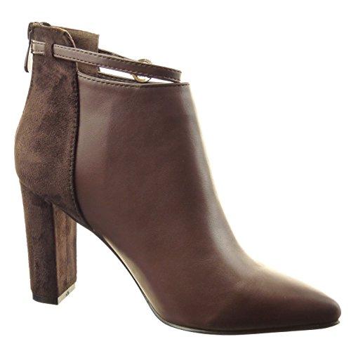 Sopily - Zapatillas de Moda Botines bimaterial A medio muslo mujer Hebilla Talón Tacón ancho alto 9 CM - Marrón