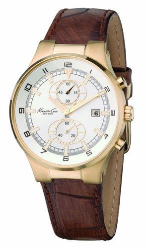Kenneth Cole Men's KC1345 Reaction Gold-Tone Brown Leather Watch, Watch Central