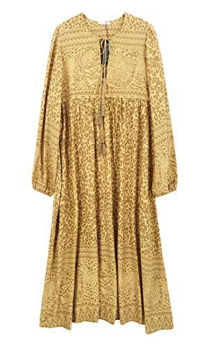 R.Vivimos Women's Long Sleeve Floral Print Retro V Neck Tassel Bohemian Midi Dresses (2XL, Yellow)