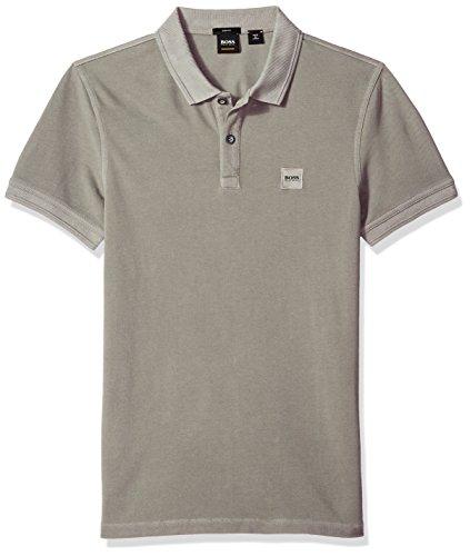 BOSS Orange Men's Prime Polo Shirt with Chest Logo Patch, Medium Grey, XXL
