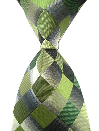 - Elfeves Men's Classic Designer Plaid Ties Checks Patchwork Necktie Green Grey