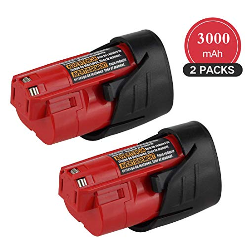 【Upgraded to 3.0Ah】 2Packs 12V 3000mAh Lithium-ion Replace for Milwaukee M12 Battery XC 48-11-2411 48-11-2420 48-11-2401 48-11-2402 48-11-2401 Cordless Tools Batteries (Milwaukee Tools M12 Battery)