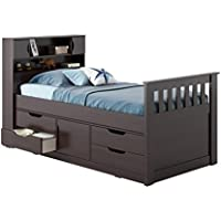 Atlin Designs Twin Captains Bed in Rich Espresso