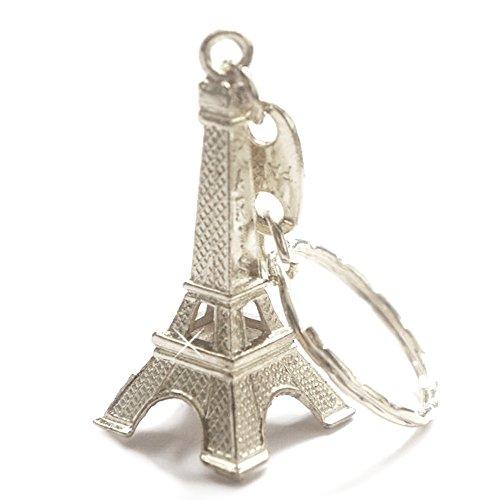 Silver Cute Adorable 3D Eiffel Tower Key Chain, French Souvenir Paris Keychain (Ring Tower Eiffel)