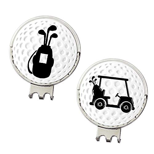 Myartte Powerful Magnetic Hat Clip, Assorted Pattern Golf Ball Markers 24.4MM,Nice Golf Gift for Women Men Kids,Pack of 2 (Golf Club and cart) ()