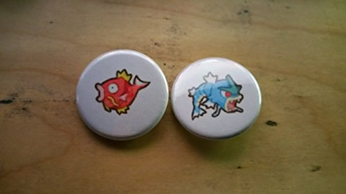 5x Pokemon Collectible 1'' inch Buttons - Magikarp Gyarados Evolution Set - Custom Made - Pin Back - Gift Party Favor by Legacy Pin Collection