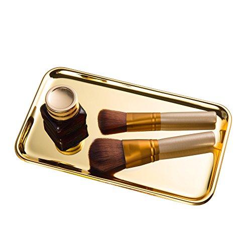 Feyarl Cosmetic Vanity Jewelry Tray Stainless Steel Trinket Dish Storage Organizer Tray Jewelry Dish Makeup Serving Perfume Tray(Gold)