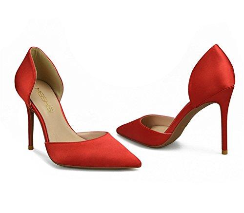 Heels Stiletto Party Größe Club 35 Für Pumps Spitze Hochzeit Rot Damen Zehen High 45 Schuhe IfxXzB