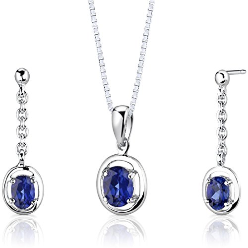 (Created Sapphire Pendant Earrings Necklace Sterling Silver Rhodium Nickel Finish Oval Shape 1.75)