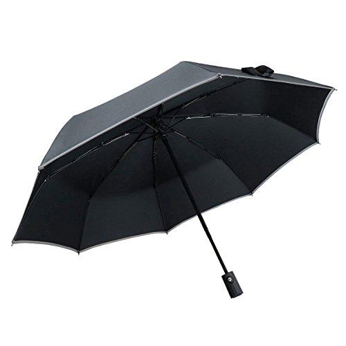 Windproof Travel Umbrella, Bemece Compact Lightweight Foldable Umbrella for Men Women, Auto Open Close- Black