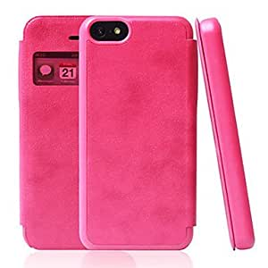 Solid Color Window PU Leather Full Body Case for iPhone 5C(Assorted Color) --- COLOR:Pink