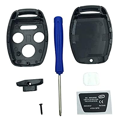 Key Fob Shell Case Fit for 4 Buttons Honda Accord Civic EX Pilot Keyless Entry Remote Car Key Housing Replacement with Free Screwdriver (Casing Only Without Blade) (Black): Automotive