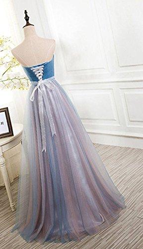 Abendkleider Ballkleider Cocktail Shulterfrei Blue Damen Brautjungfernkleider Bainjinbai 8ExTwZqn