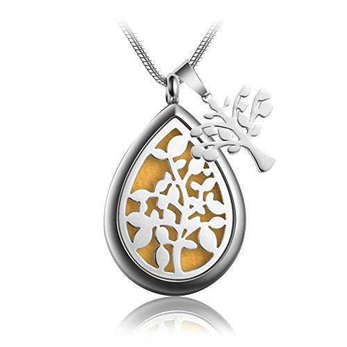 Teardrop Aromatherapy Essential Oil Diffuser Necklace Locket Pendant Hypo-Allergenic 316L Surgical Grade Stainless Steel With 23.6
