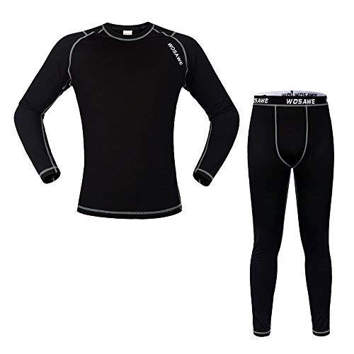 WOASAWE Men's Thermal Fleece Base Layer Shirt Pants Tights, BlackB Set, Size S