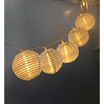 Amazon.com : HQOON Globe String Lights with Mini Nylon Lantern ...
