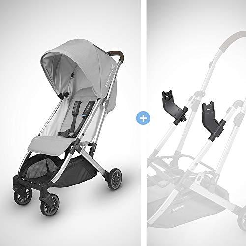 (UPPAbaby MINU Stroller-Devin(Light Grey Melange/Silver/Chestnut Leather)+MINU Infant Car Seat Adapter for MESA)