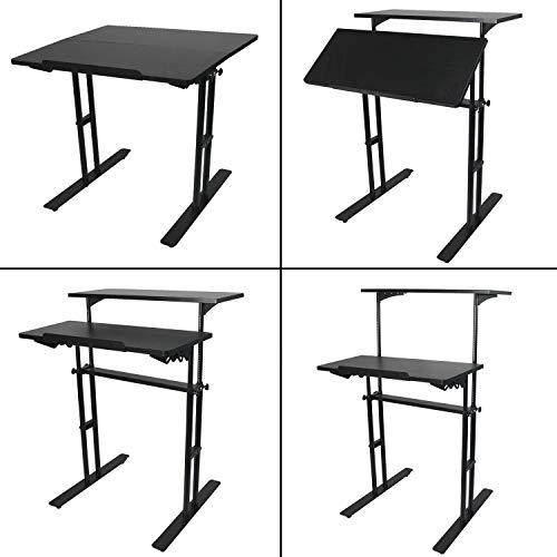 Heyesk Stand Up Desk Height Adjustable Home Office Desk with Standing (Black) by heyesk (Image #8)