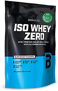 BioTechUSA Iso Whey ZERO, Lactose, Gluten, Sugar FREE, Whey Protein Isolate, 500 g, Black biscuit